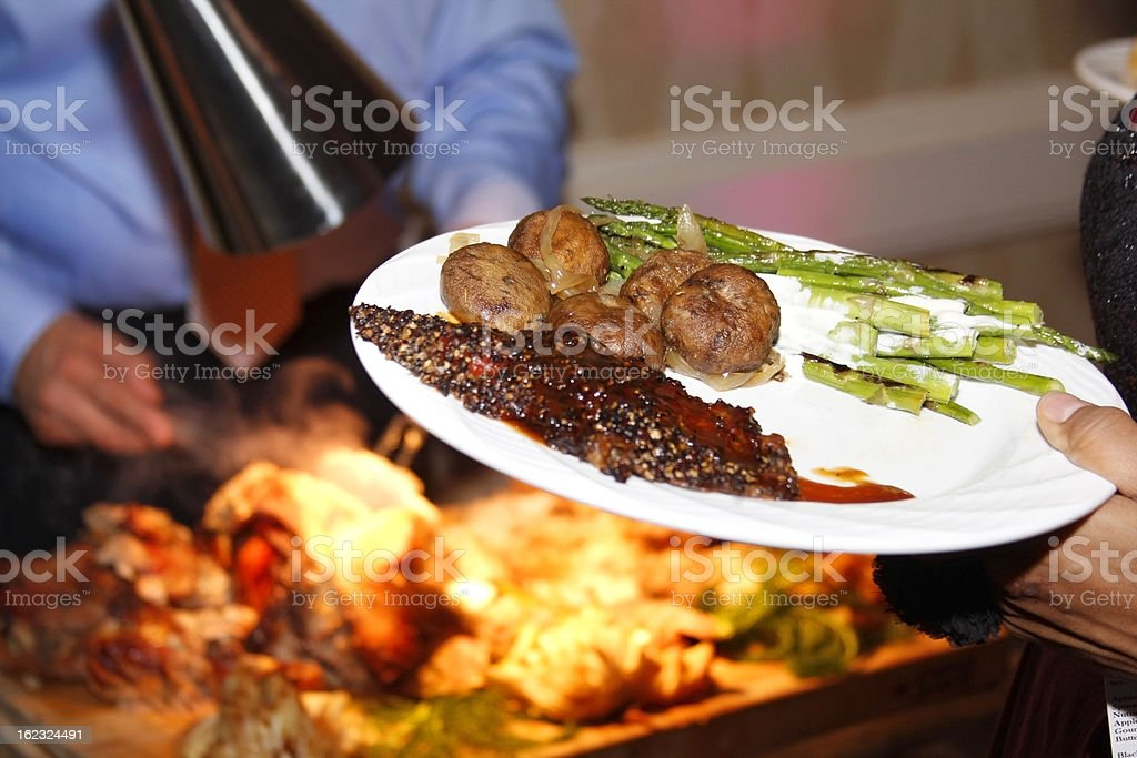 Roast Beef Dinner Catered stock photo