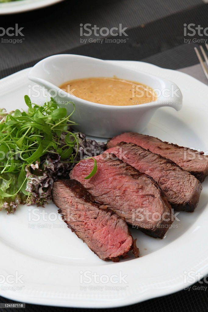 Roast beef dish stock photo