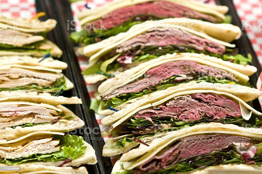 Roast beef flat bread sandwiches royalty-free stock photo