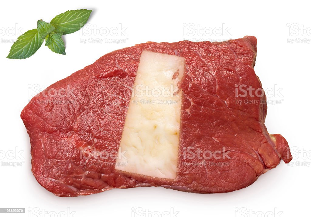 Roast beef meat and fat shaped as Saskatchewan.(series) stock photo