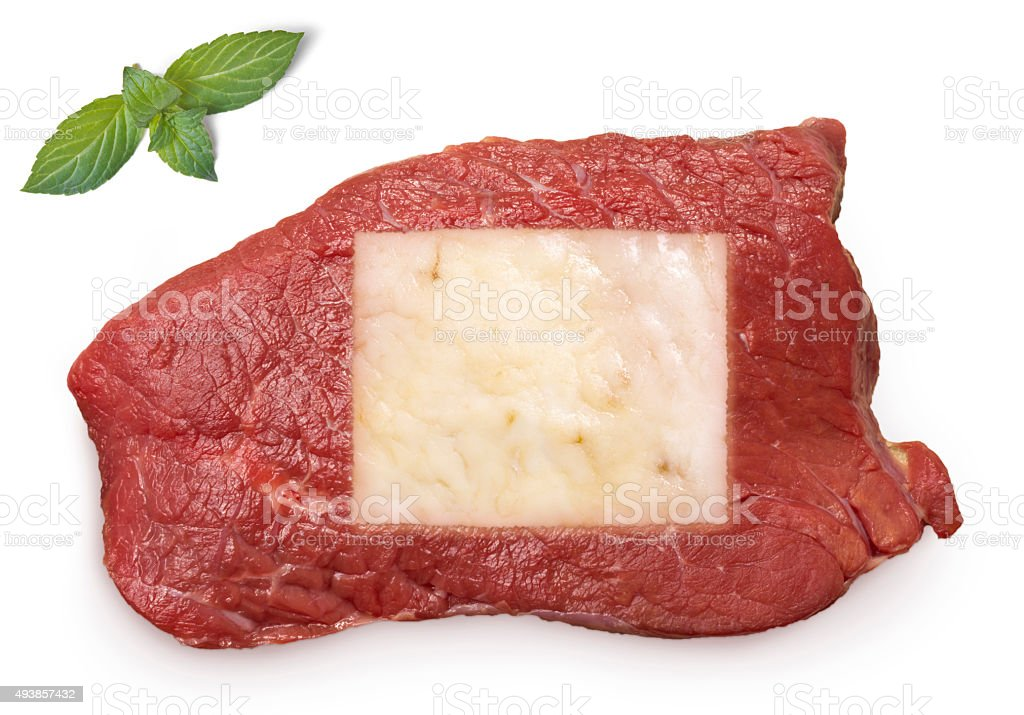 Roast beef meat and fat shaped as Wyoming.(series) stock photo