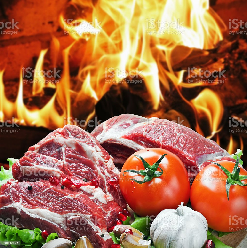 roast beef meat slices with vegetables stock photo