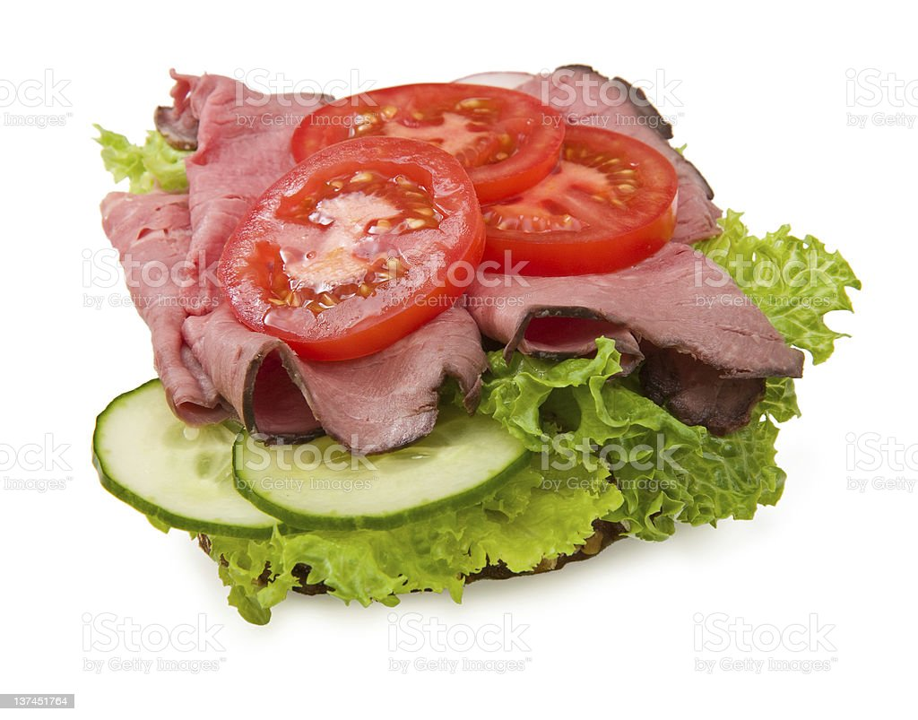 Roast beef sandwich isolated on white royalty-free stock photo
