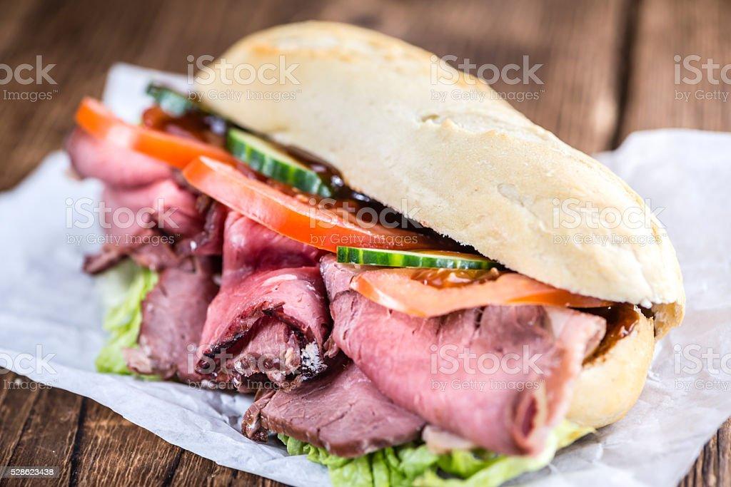 Roast Beef Sandwich (close-up shot) stock photo