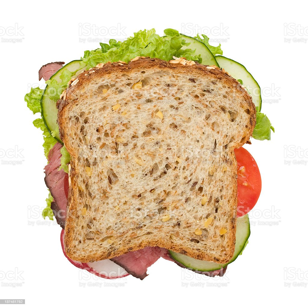 Roast beef sandwich top view, isolated on white stock photo