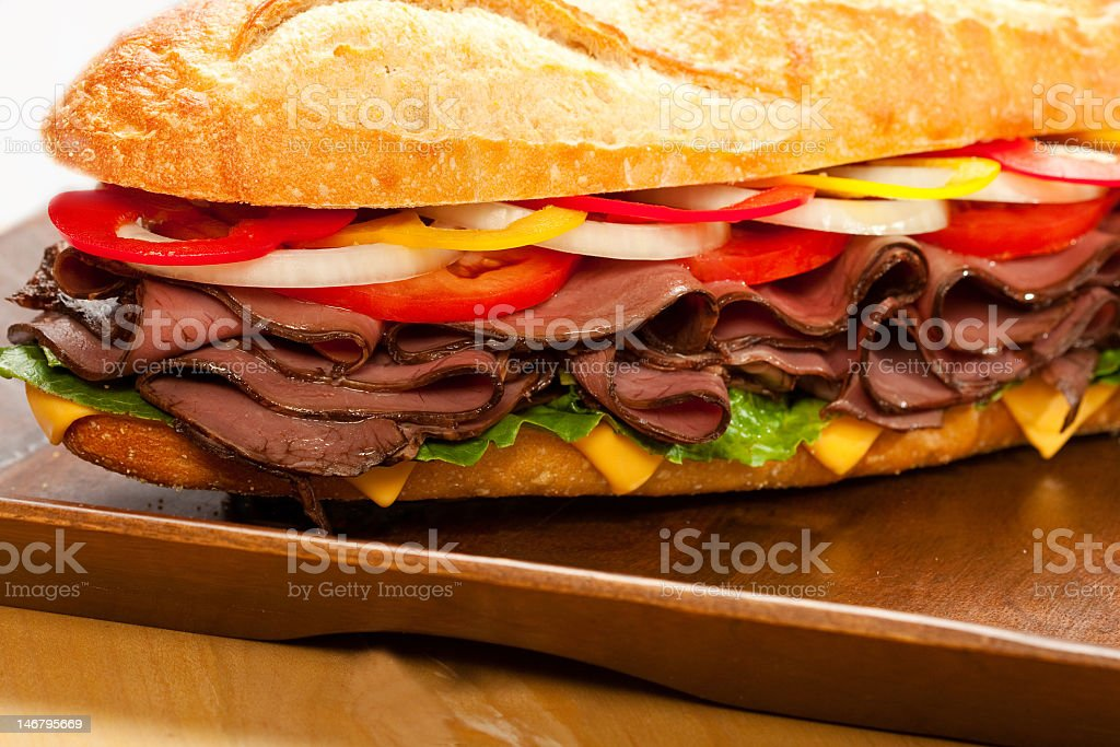 Roast beef sandwich with toppings royalty-free stock photo