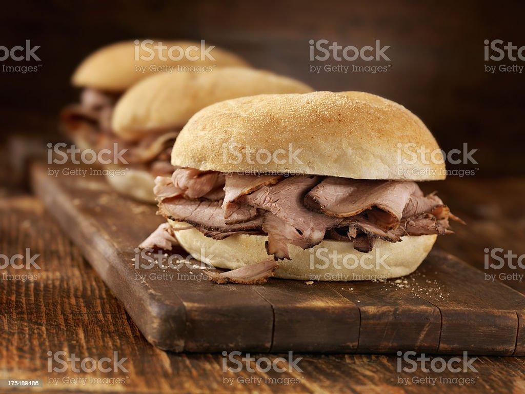 Roast Beef Sandwiches stock photo