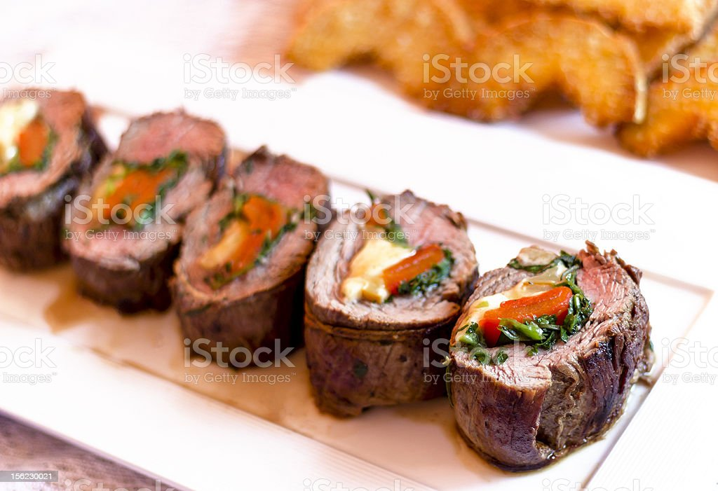 roast beef stuffed with vegetables royalty-free stock photo