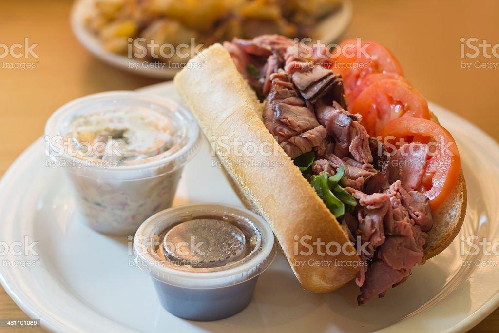 Roast Beef Sub Sandwich stock photo