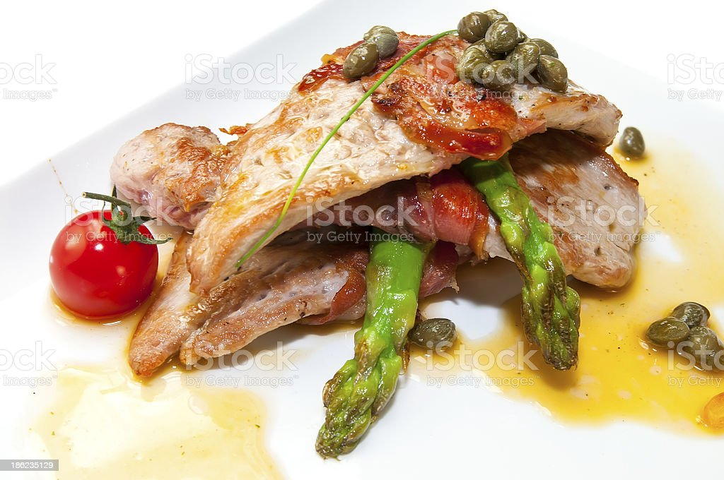 roast beef with asparagus and capers royalty-free stock photo