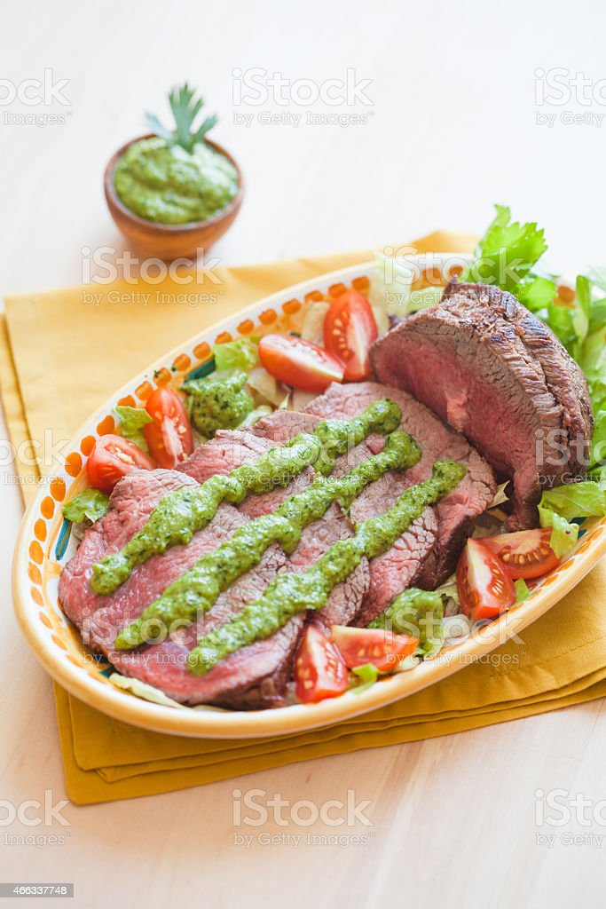 Roast Beef with Green Sauce stock photo