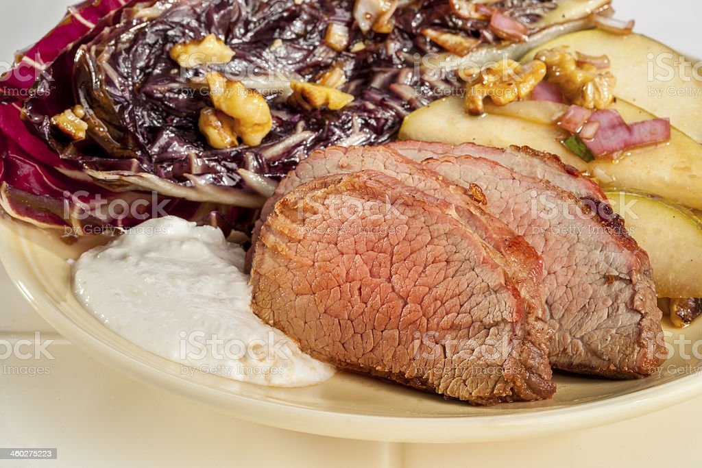 Roast Beef with Grilled Treviso stock photo