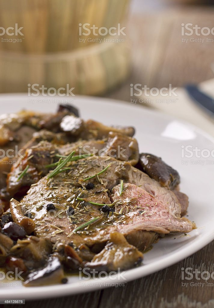 Roast Beef with Mushrooms royalty-free stock photo