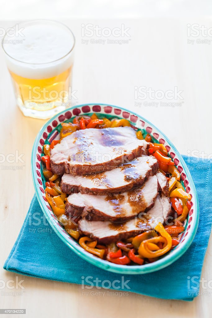 Roast Beef with Peppers stock photo