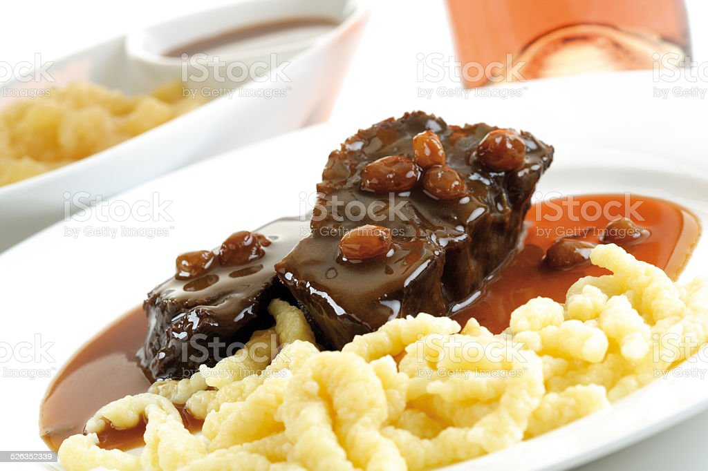 Roast beef with side dishes, tilt view, typical Rheinland, Germany stock photo