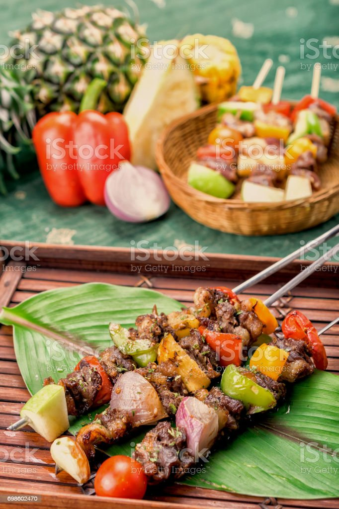 Roast Beef with Vegetables, BBQ stock photo