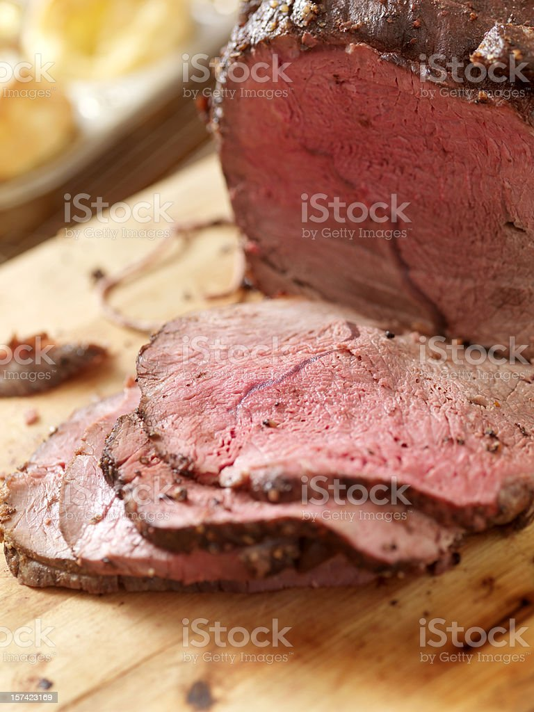 Roast Beef with Yorkshire Pudding royalty-free stock photo