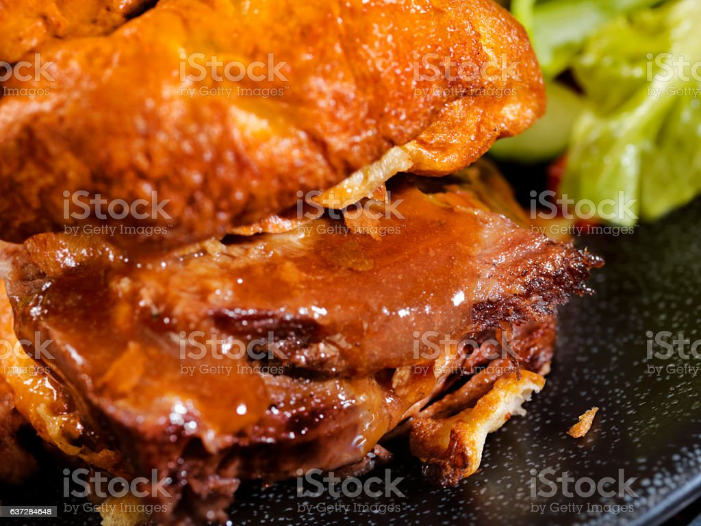 Roast Beef Yorkshire Pudding Sandwich stock photo