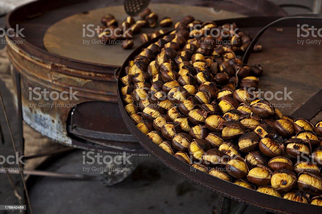 Roast chestnut stock photo