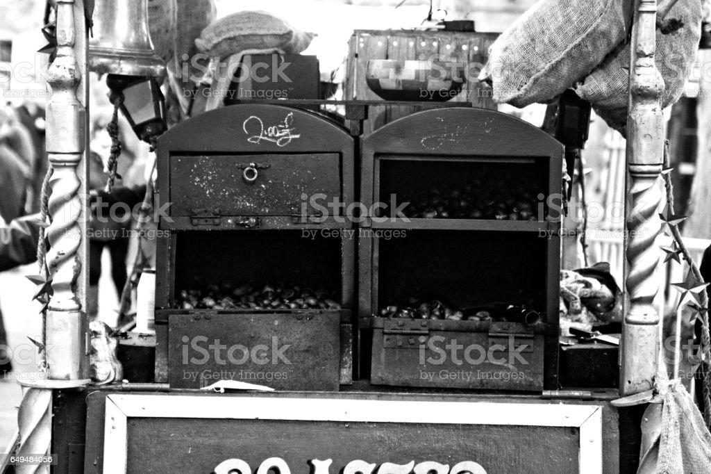 Roast chestnut stall stock photo