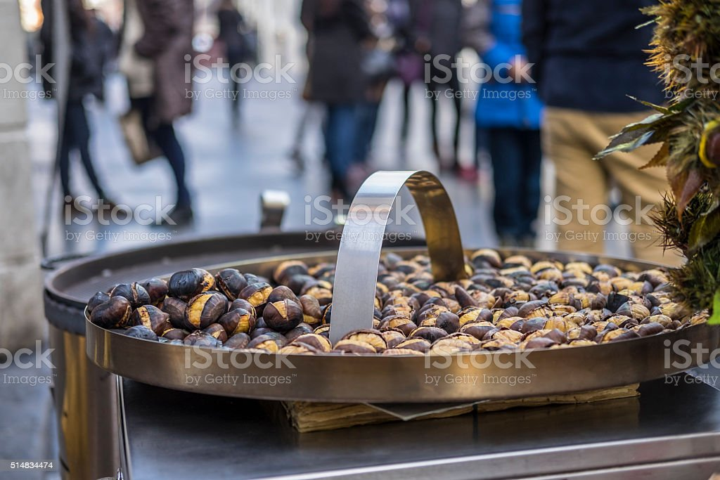 Roast Chestnuts in Rome stock photo