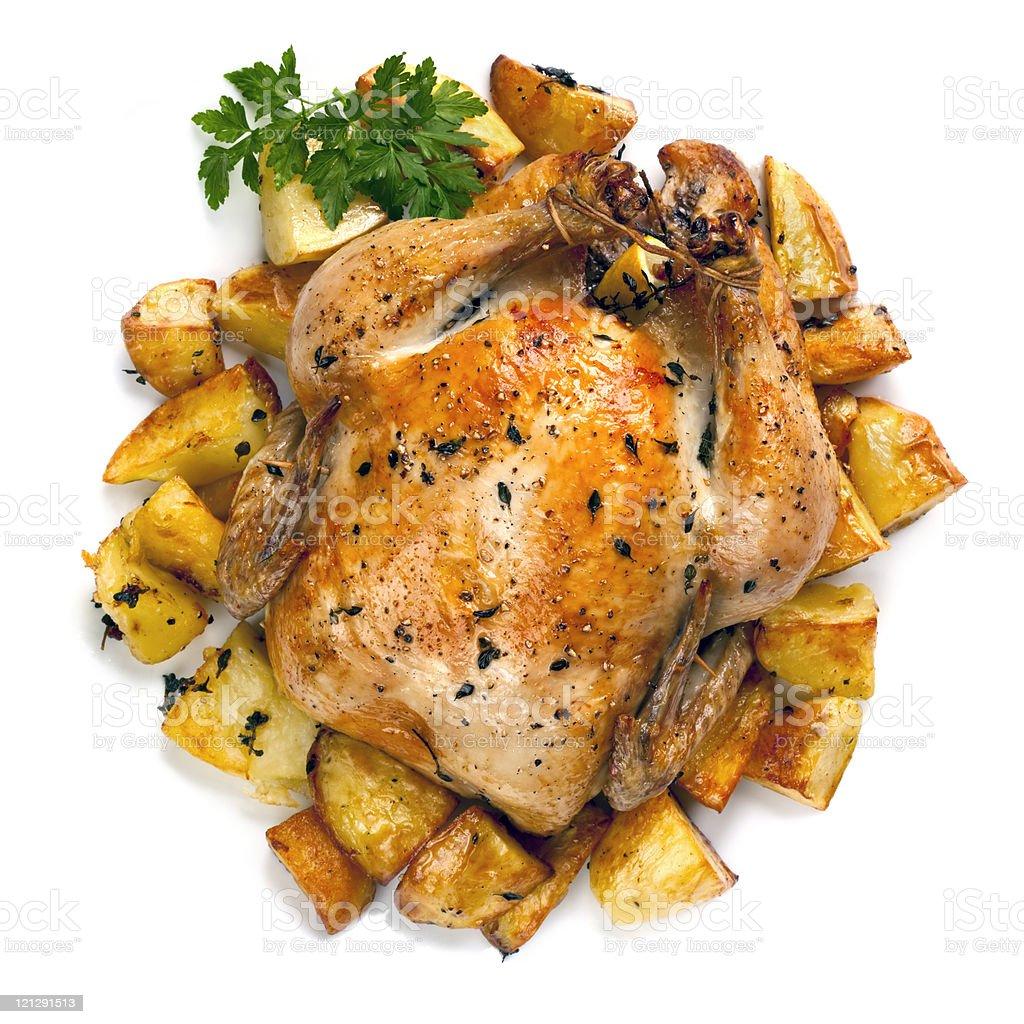 Roast Chicken and Potatoes stock photo