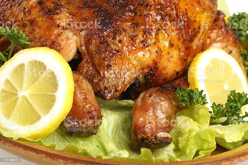 Roast chicken detail royalty-free stock photo
