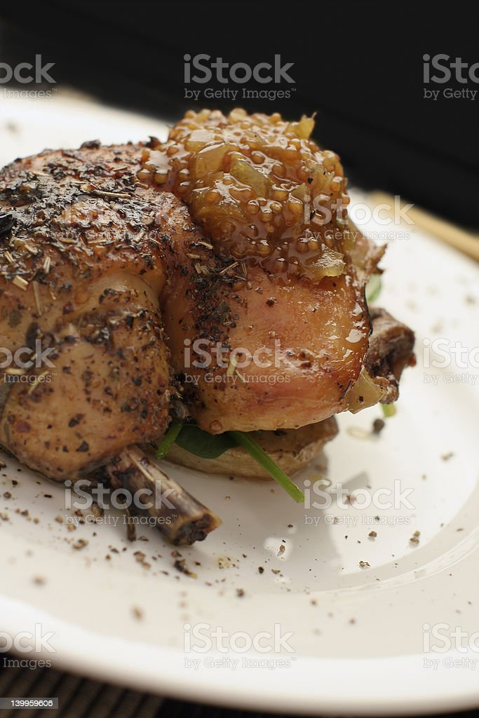 roast chicken dinner; angled close crop royalty-free stock photo