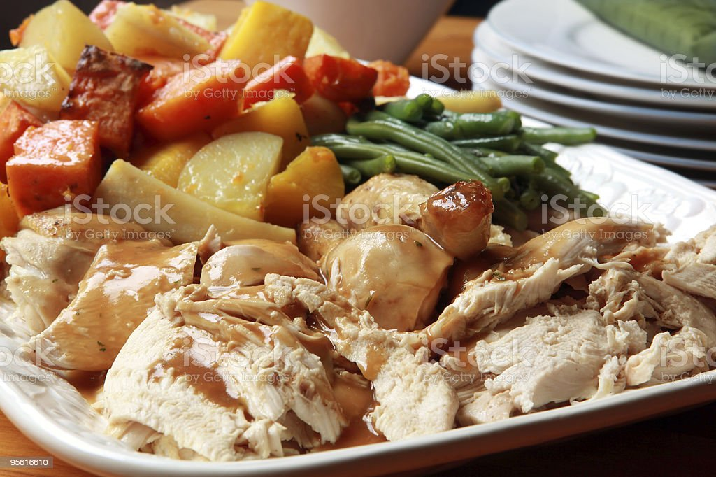 Roast Chicken Dinner royalty-free stock photo