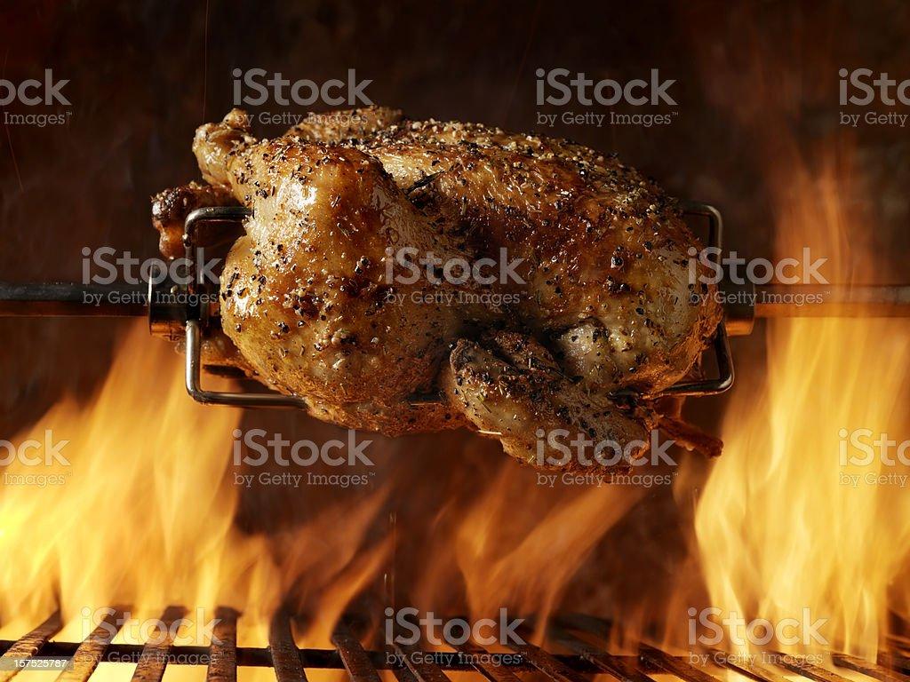 Roast Chicken on the BBQ stock photo