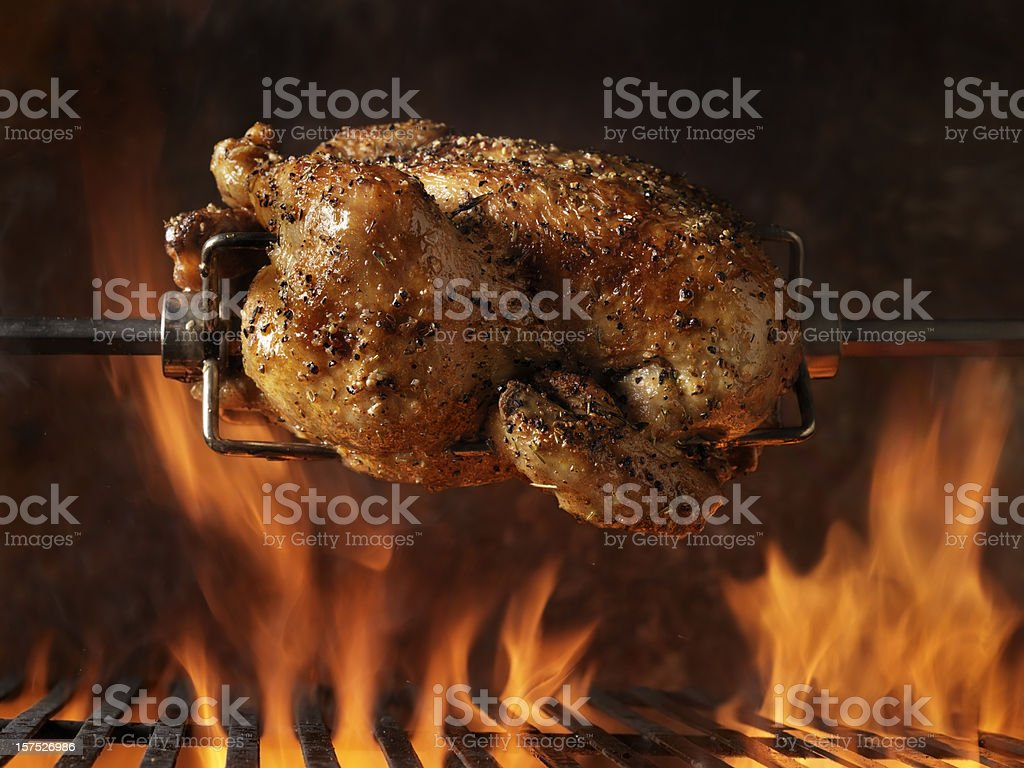 Roast Chicken on the BBQ stock photo