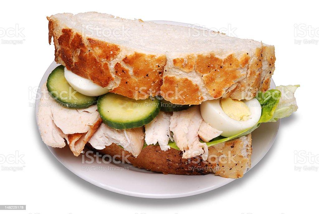 Roast chicken sandwich royalty-free stock photo