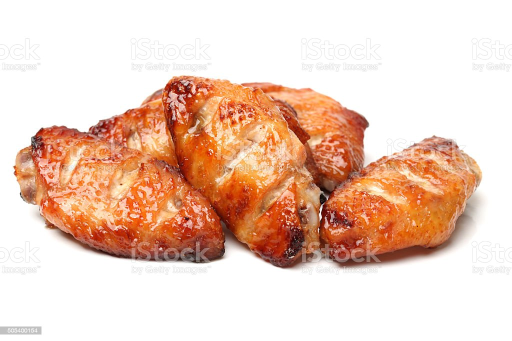Roast chicken wings stock photo