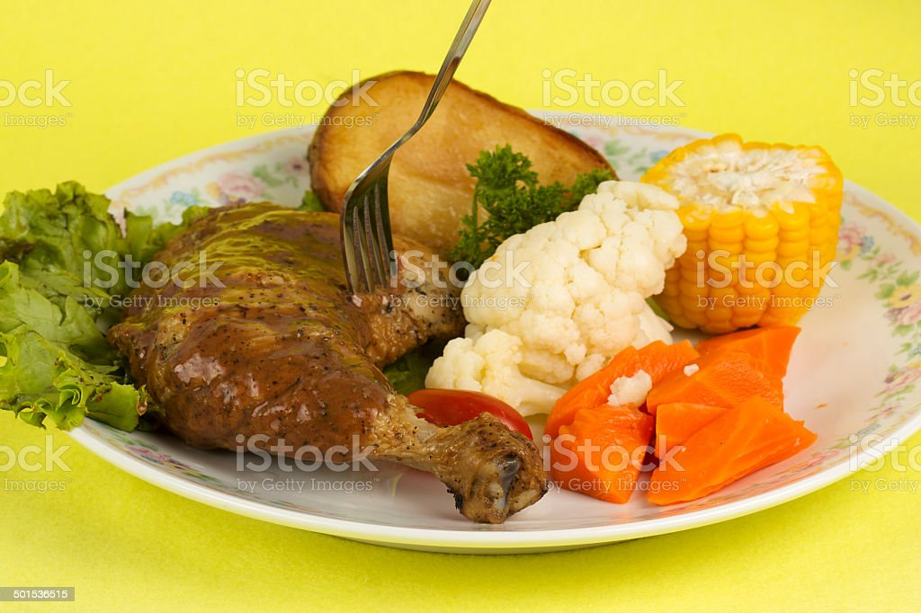 Roast chicken with black pepper sauce stock photo