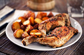 Roast chicken with potatoes on a plate
