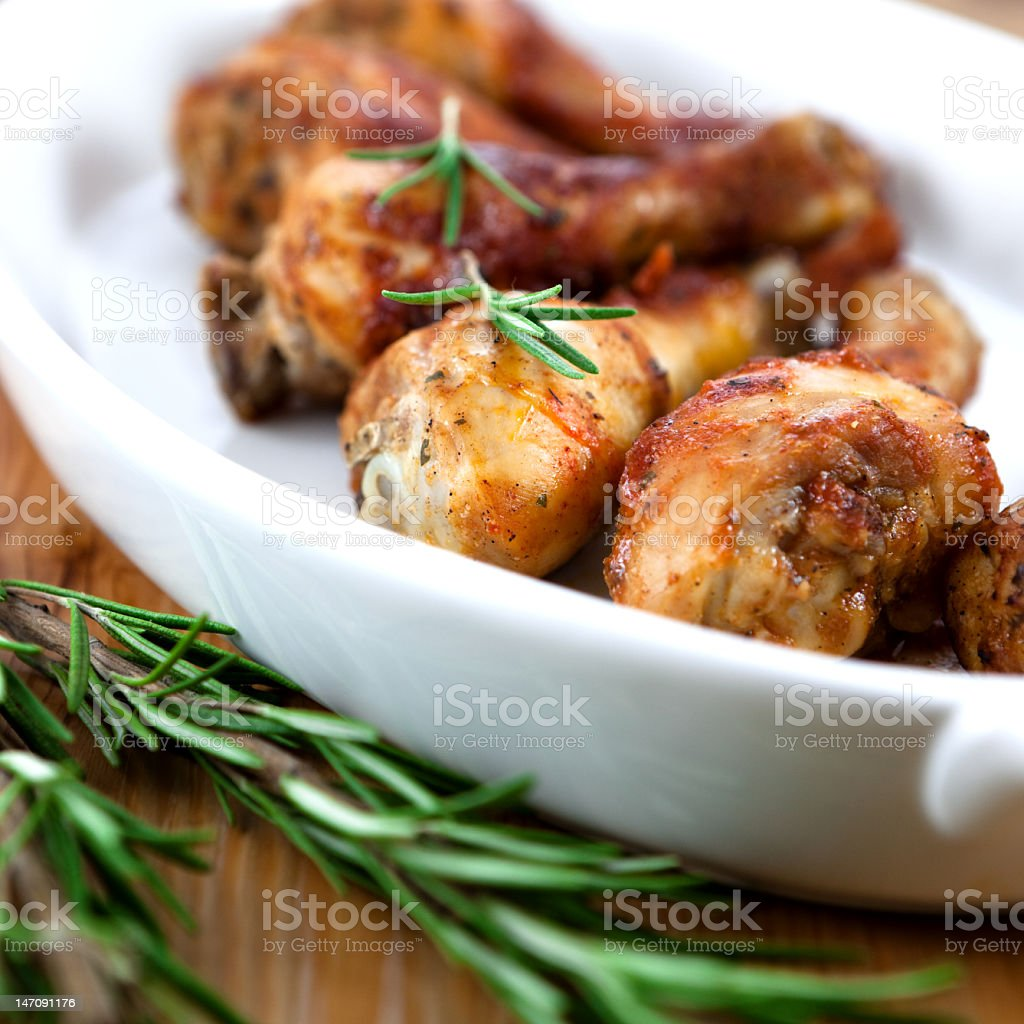 Roast chicken with rosemary stock photo