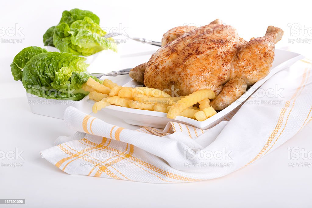 Roast chicken with salad royalty-free stock photo