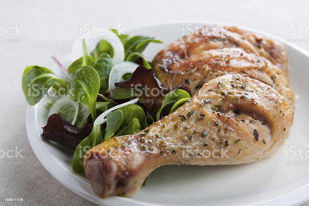 Roast chicken with salad stock photo