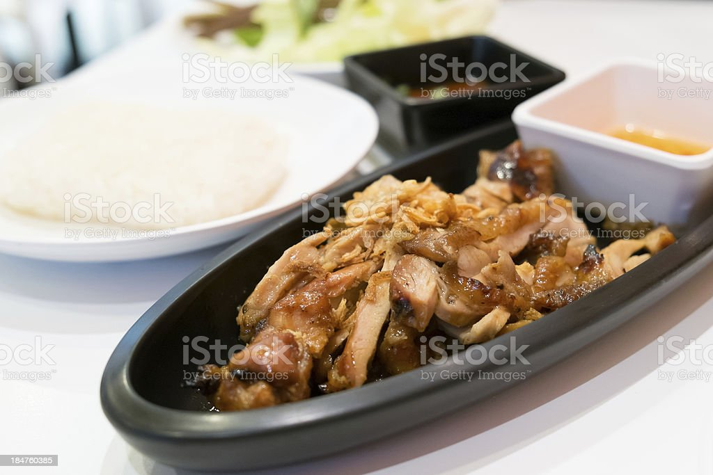 Roast Chicken with sauce and sticky rice royalty-free stock photo