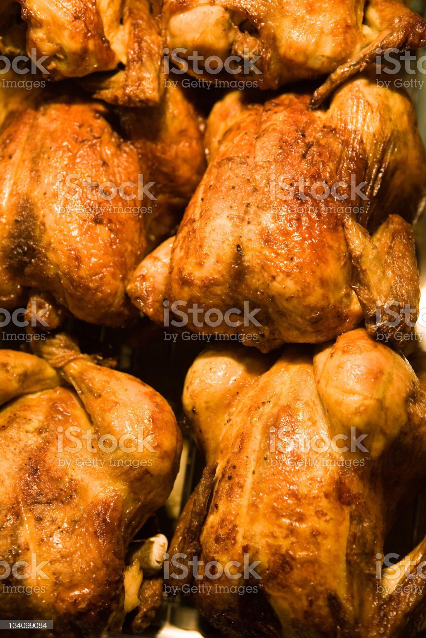 Roast chickens royalty-free stock photo