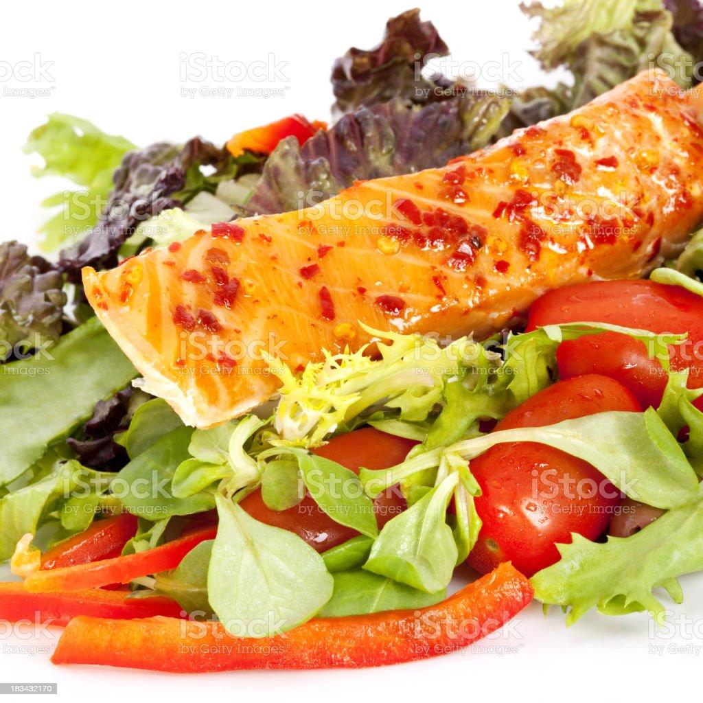 Roast Chilli Salmon Salad royalty-free stock photo