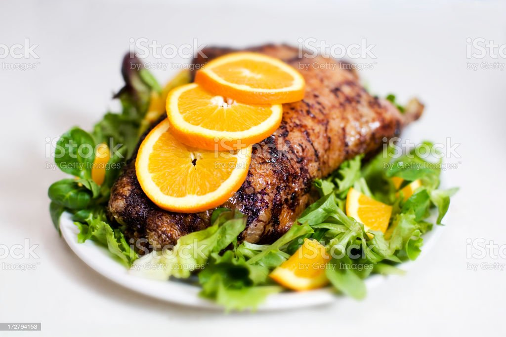 Roast Duck with Orange royalty-free stock photo