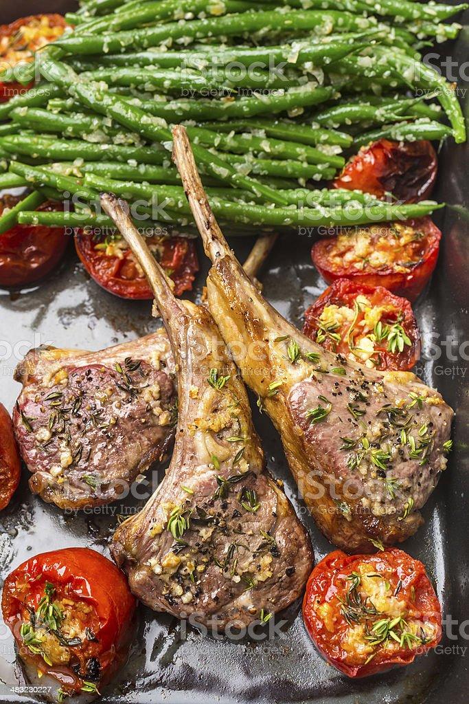 Roast Lamb Cutlets stock photo