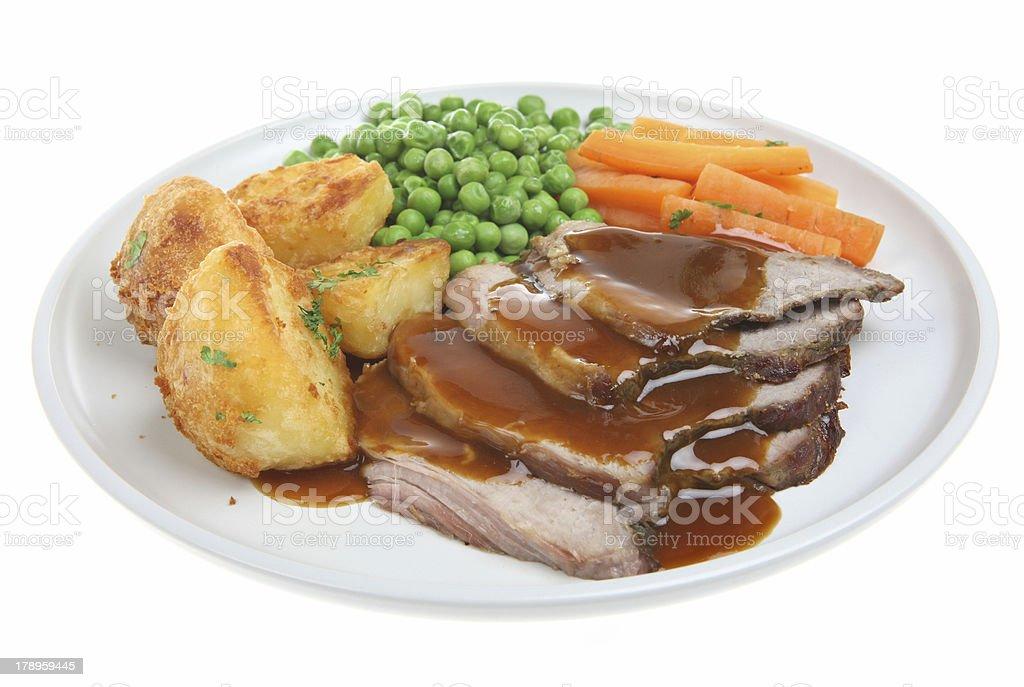 Roast Lamb Dinner stock photo