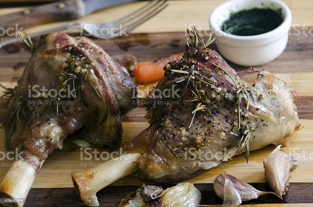 Roast legs of lamb stock photo
