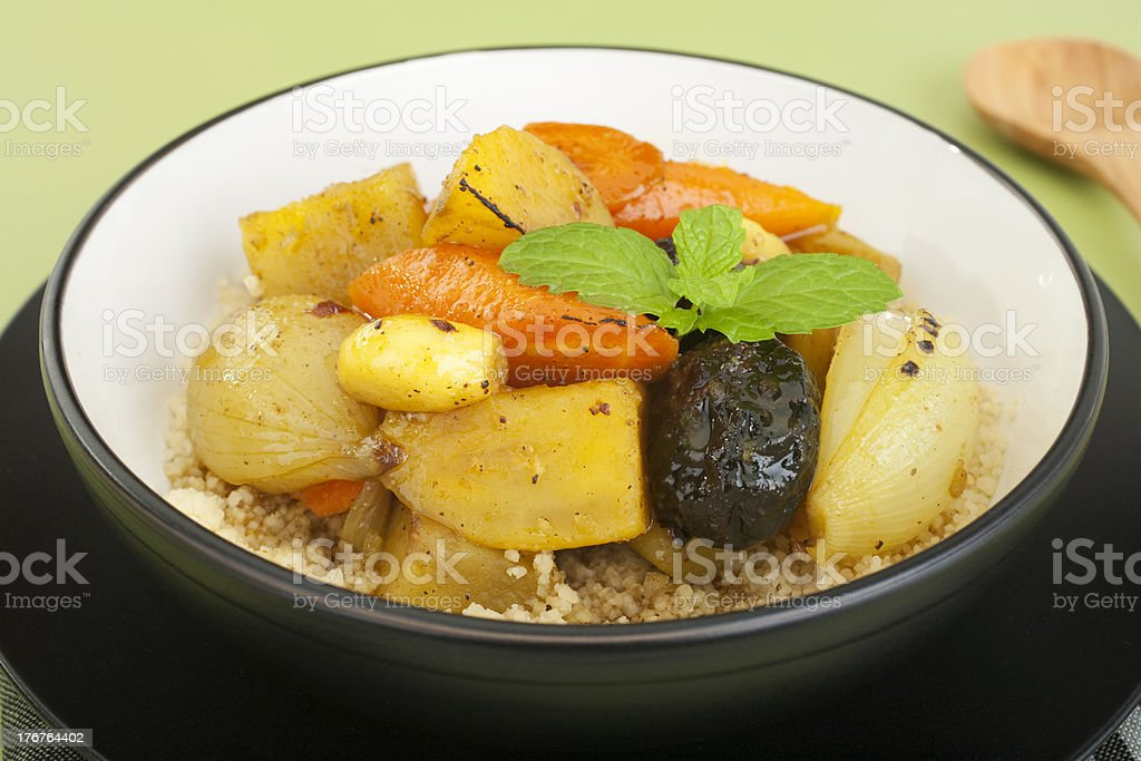 Roast Moroccan Vegetables with Prunes and Ras el Hanout. royalty-free stock photo