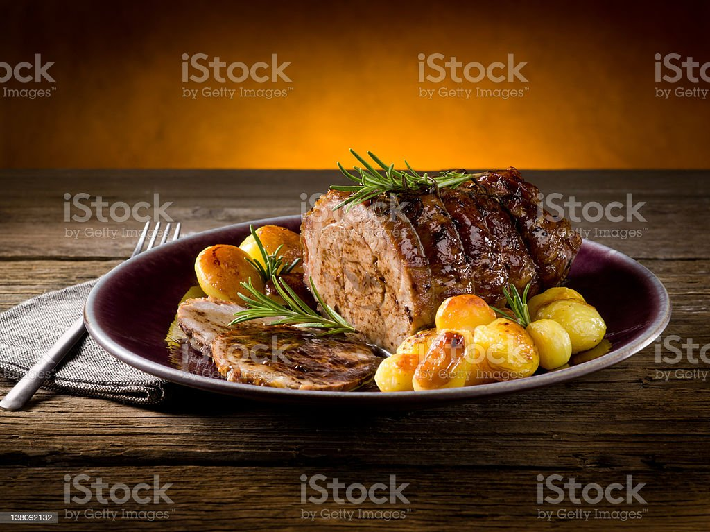roast of veal with potatoes royalty-free stock photo