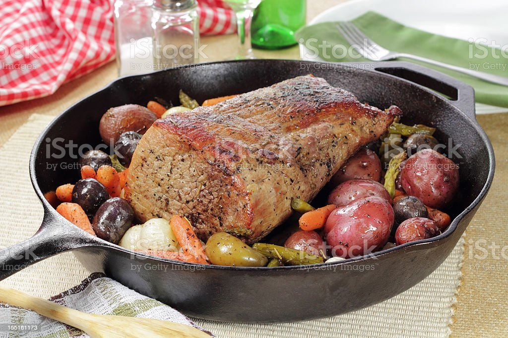 Roast Pork and Vegetables royalty-free stock photo