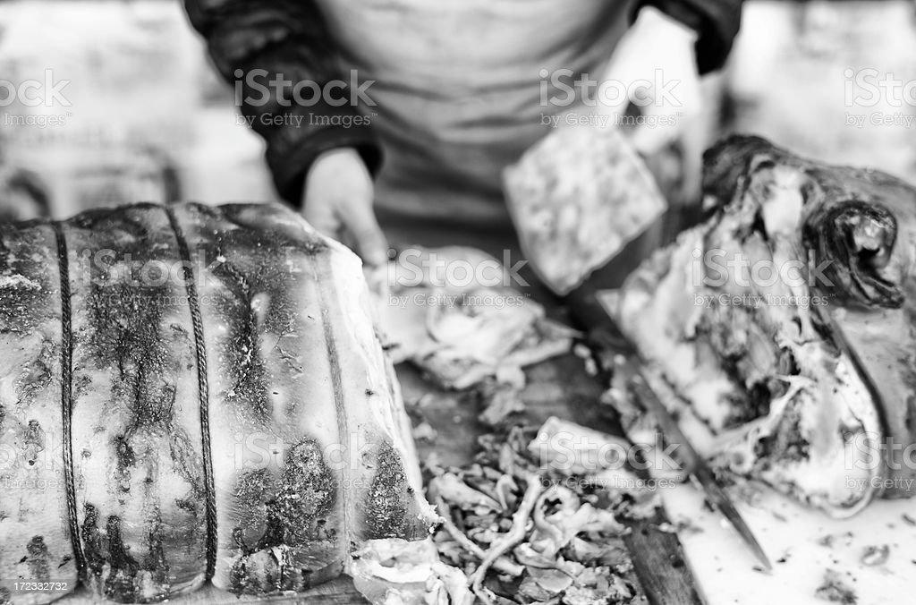 Roast Pork. Black and White stock photo