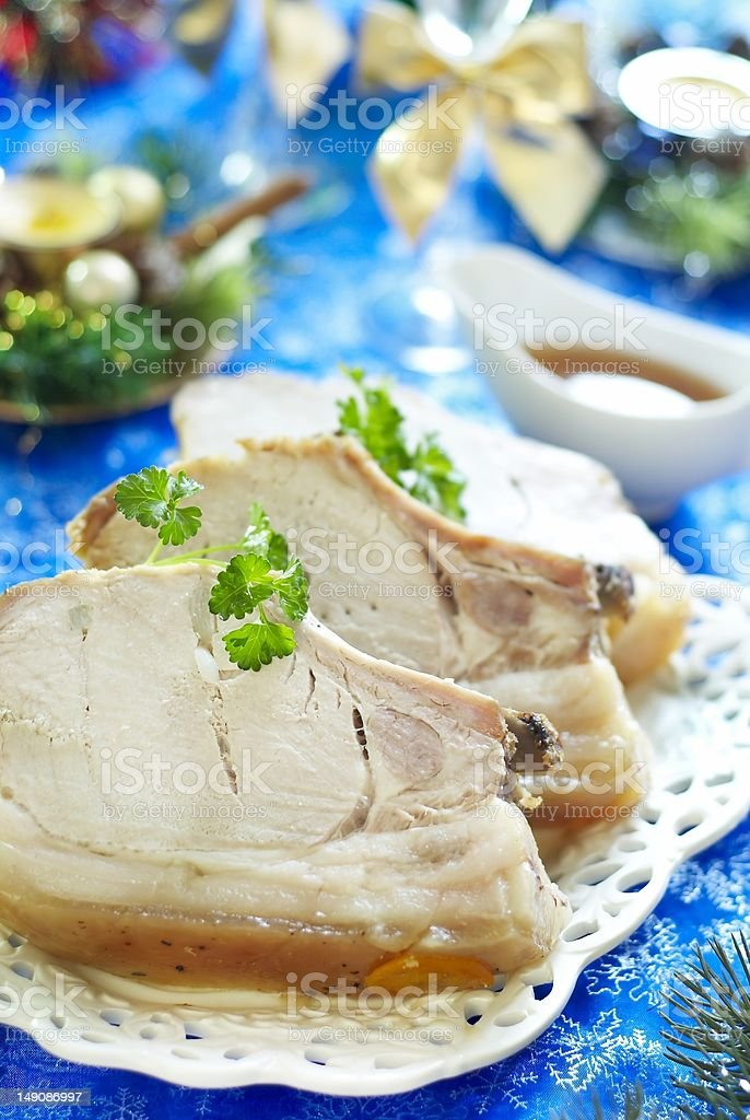 Roast pork in ginger glaze with citrus sauce royalty-free stock photo